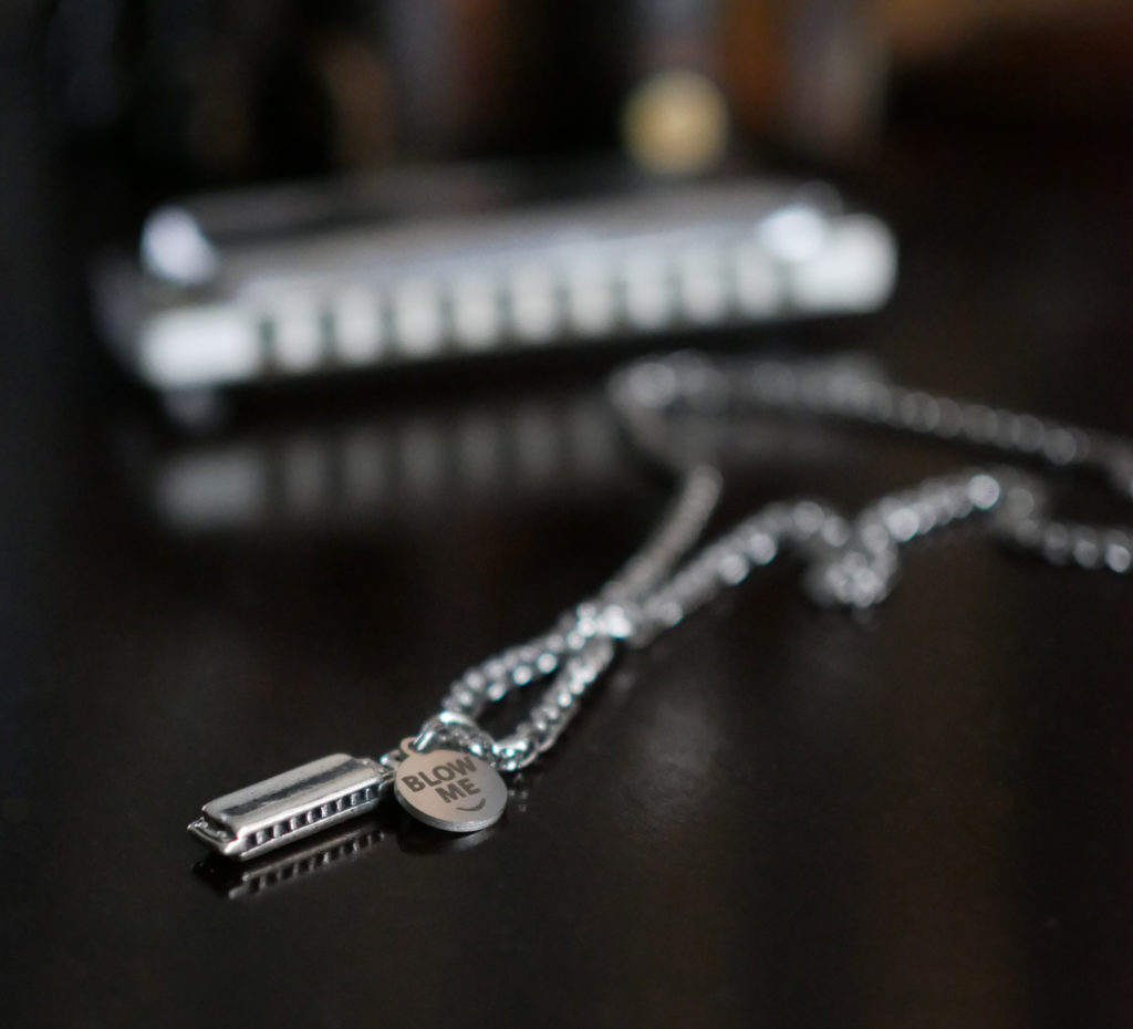 funny Harmonica necklace. gift ideas for harmonica players